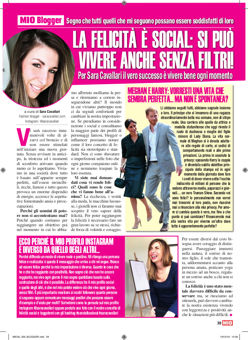 Rubrica Settimanale Mio Sara Cavallari